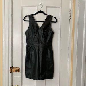 CLEARANCE | VTG Black Leather Mini Dress